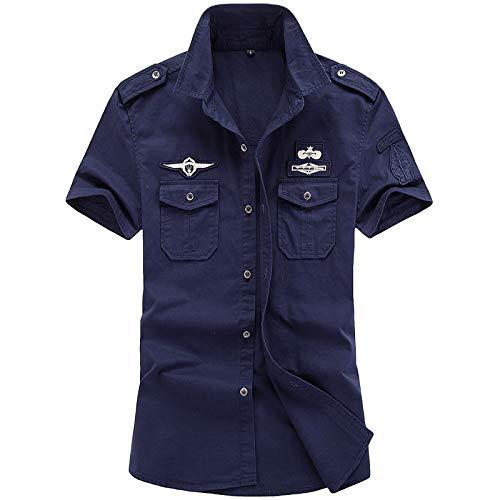 Camisas,Air Force One Summer Camisa De Manga Corta De Gran Tamaño para Hombres Slim Fit Casual Media Manga Ropa De Trabajo Militar Camisa Al Aire Libre, Royal Blue, 5XL