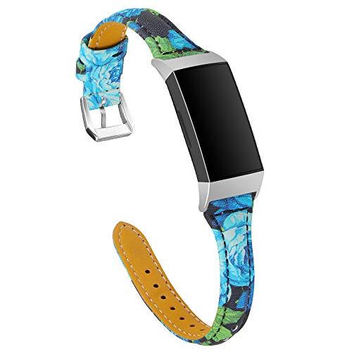 TenCloud Correas de repuesto compatibles con Fitbit Charge 4/Charge 3, correa delgada de piel con estampado de flores, correa ajustable para el brazo para Charge 4/Charge 3/Charge 3 SE, color azul