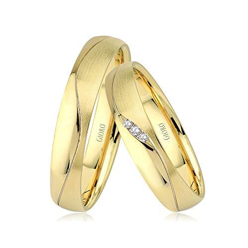 GIORO Loreto Eheringe Trauringe Hochzeitsringe massiv Gold *handgefasste Brillanten* Paarpreis Echtes Gold (14 Karat (585) Gelbgold)