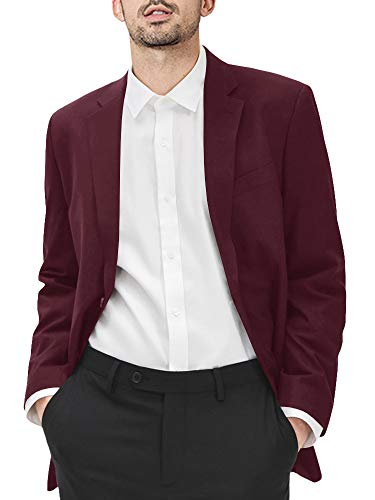 Men's Casual Blazer Jacket Slim Fit Plain Sport Coats Lightweight Two Buttons Suit Jacket with Pockets Wine Red