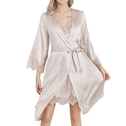 LZJDS Ropa de dormir para mujer, 2 piezas, ropa de dormir de seda, bata larga, elegante, bata kimono con correa, camisón para ropa de estar, albaricoque rosa, L