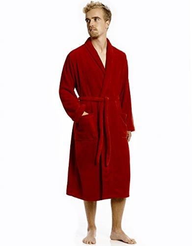 Mens Fleece Robe Red Size L/XL