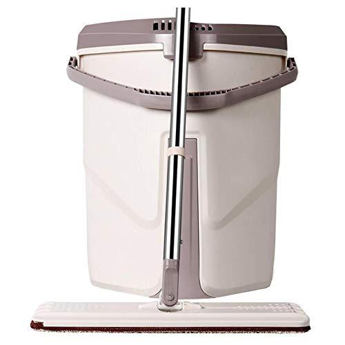 Geniales, flaches Bodenwischer- und Eimer-Set für professionelle Bodenreinigungssysteme mit Aluminium-Griff, 2 waschbare Mikrofaser-Pads