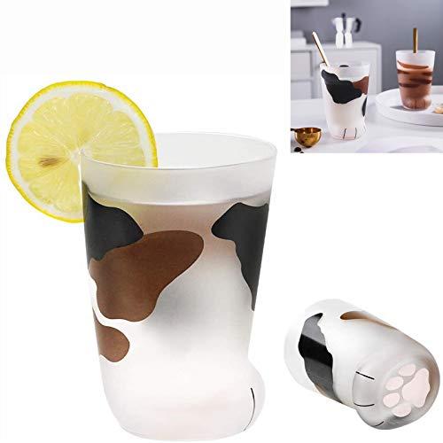 Juego de tazas de cristal mate con diseño de huellas de gato, para café expreso, leche, zumo (C)