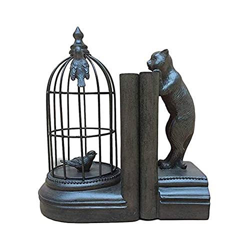 Bookends Creative Book Ends,Book Ends for Shelves,Book Ends Bookends Book Shelves Heavy Duty Bear and Bird Cage Sculpture Bookends Nonskid Bookends Art Bookend,Art Design BookEnd