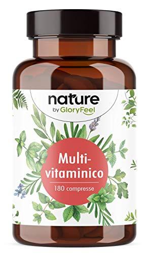 Integratore Multivitaminico & Multiminerale Naturale, 180 Compresse, Integratore Multivitamine per Uomini e Donne, Vitamine A, B1, B2, B3, B5, B6, B7, B9, B12, C, D, E, Calcio, Zinco e Selenio