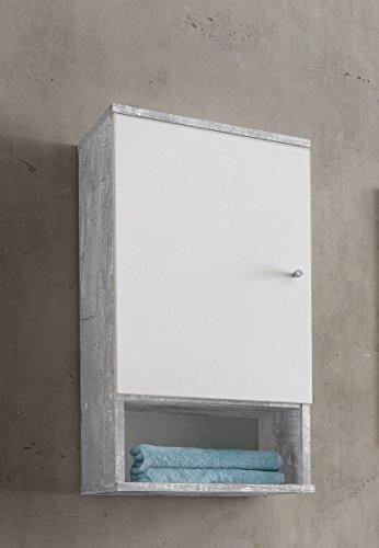 WILMES Badmöbel, Badezimmerhängeschrank, Hängeschrank, Holz, Beton/Weiß Melamin Dekor, 32x35x70.5 cm