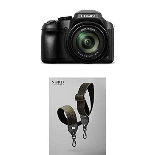 PANASONIC LUMIX FZ80 4K 60X Zoom Camera, 18.1 Megapixels, F2.8-5.9, 4K 30p Video, Power O.I.S., WiFi – DC-FZ80K (USA BLACK) with Universal Camera Strap with Quick Release System