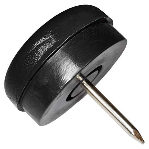 4 x Deslizante de plástico con clavo y goma | Ø 25 mm | negro | redondas | Patas de muebles con clavo y goma de la máxima calidad de Adsamm®