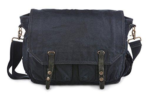 Gootium Umhängetasche aus Leinen, Vintage-Stil, Umhängetasche, Unisex, für 39,6 cm (15,6 Zoll) Laptops, Schwarz  (Schwarz) - 60403BLK