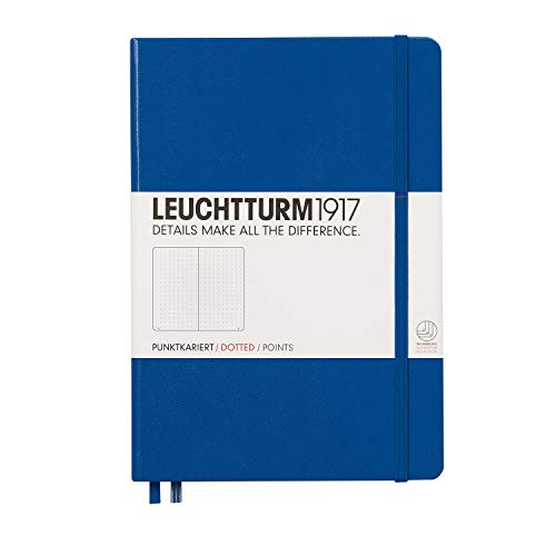 Leuchtturm1917 Medium A5 Dotted Hardcover Notebook (Royal Blue) - 249 Numbered Pages