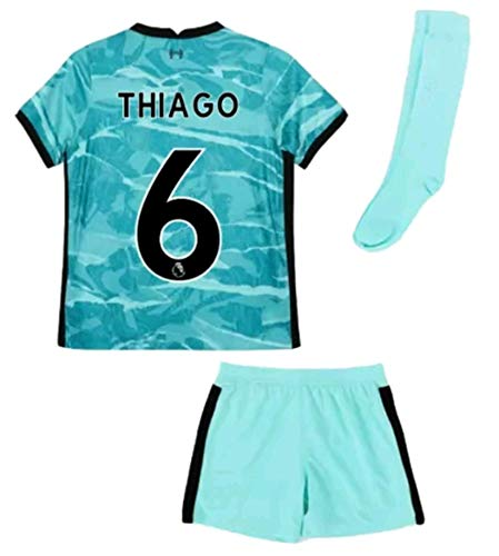 2020-2021 Kids/Youths Away Soccer Jersey/Short/Socks Colour Turquoise (Liverpool Thiago #6(11-13years/size28))