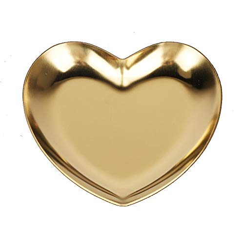 Raguso Bandeja de exhibición de joyería de Acero Inoxidable Bandeja de Fruta de Paleta de baratija en Forma de corazón para Cocina casera(Oro)