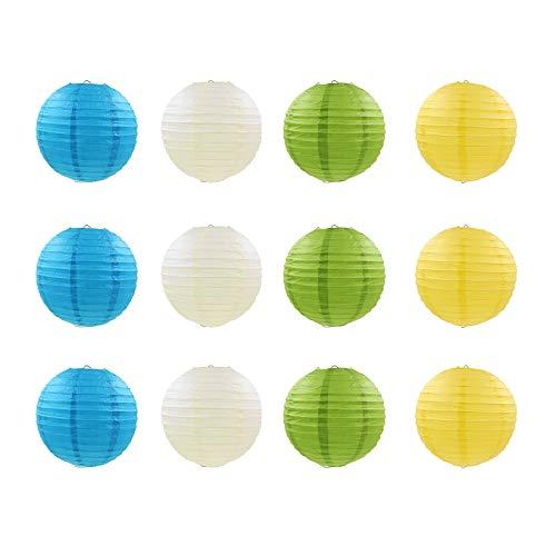 Keilafu paper lantern, farolillos chinos, Linterna de papel redonda de 12 piezas con nervaduras de alambre, linterna colgante redonda de estilo chino de 4 colores para bodas, fiestas, baby showers