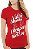 style3 Video Game Therapy Camiseta para Mujer T-Shirt Gamer Classic Retro videoconsola Sonic Drive, Color:Rojo, Talla:S