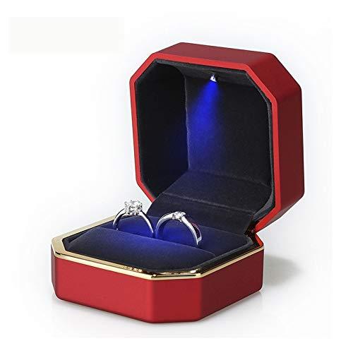 WNN - URG - Caja de regalo para anillos con luz LED URG (color: caja de anillo)