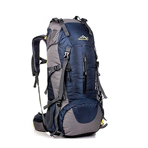Alando wasserdichter Rucksack Wanderrucksack Trekkingrucksack Reiserucksack Tourenrucksack Outdoor Sportrucksack + Regenschutzhülle für Damen und Herren mit der großen Kapazität (Blau, 65+5L)