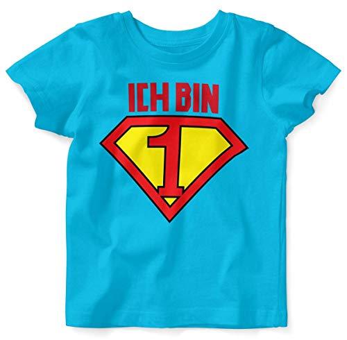 Mikalino Baby/Kinder T-Shirt mit Spruch für Jungen Mädchen Unisex Kurzarm Ich Bin 1 | handbedruckt in Deutschland | Handmade with Love, Farbe:Atoll, Grösse:80/86