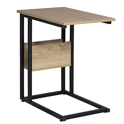 WOLTU Beistelltisch Kaffeetisch Couchtisch Sofatisch Nachttisch Betttisch Laptoptisch, Gestell aus Metall, Tischpltte aus Spanplatte, 55x36x59,5cm(BxTxH), Hell Eiche TS79hei