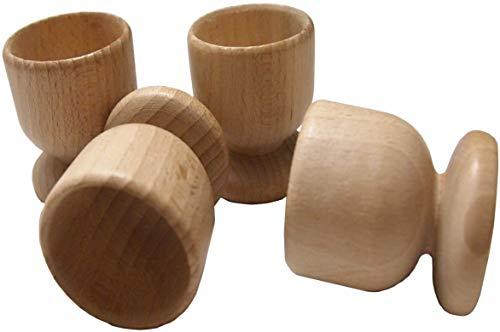 4 x Holz Eierbecher - Set von 4 Egg Haltern aus Buche natur Holz-Handwerk Kunst Ostern Zubehör