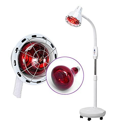 Zyxdk Lámpara de Calor Infrarroja, 275W Lámpara de Calor Infrarroja de Luz Roja con Brazo Flexible y Base Rodante para el Cuidado de la Piel, Alivie la Terapia de Luz Roja (Color : White)
