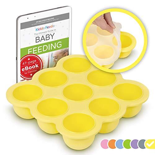 KIDDO FEEDO Contenedor para comida de bebés y bandeja de silicona con tapa - Multi funcional con 9 compartimentos - Sin BPA - eBook gratis del autor/dietista - Amarillo