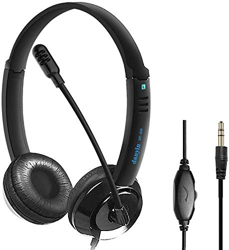Auriculares Telefono 3.5mm, Auriculares Micrófono PC, Auriculares Diadema Cable, Headset Cancelación de...