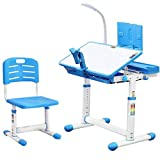 Children Desk and Chair Set,Height Adjustable Children Study Table with Wood Tiltable Anti-Reflective Tabletop ,School and home Kids Study Table With Bookstand, LED Light(25.6 in x 18.9 in) (Blue)