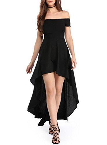 Sidefeel Women Off Shoulder High Low Maxi Party Dresses Large Black