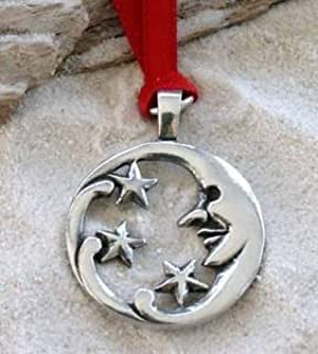 Pewter Moon Face and Stars Lunar Celestial Pagan Christmas Ornament and Holiday Decoration