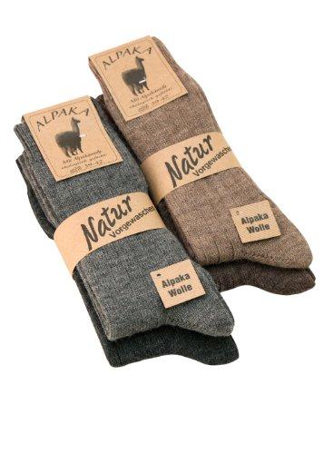 Alpaka Socken Wollsocken dünn Herren u. Damen mit Alpaka Wolle weich und warm, 4 Paar 43-46 (4er 43-46)