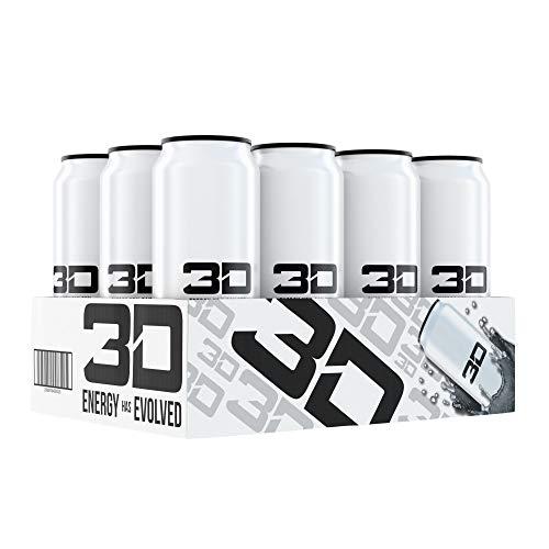 3D Energy Drink   Caffeine, Zero Sugar, 16 Fluid Ounce   12 Pack (White)
