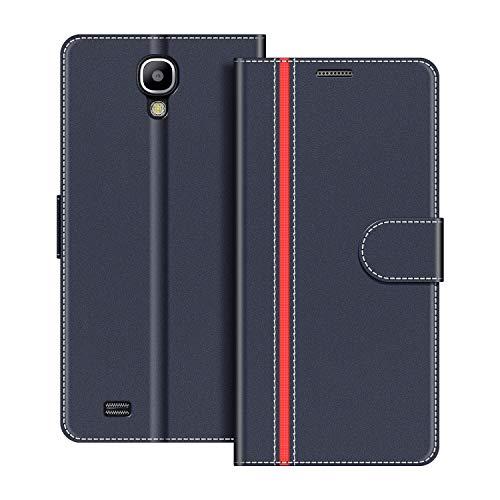 COODIO Handyhülle für Samsung Galaxy S4 Handy Hülle, Samsung Galaxy S4 Hülle Leder Handytasche für Samsung Galaxy S4 Klapphülle Tasche, Dunkel Blau/Rot