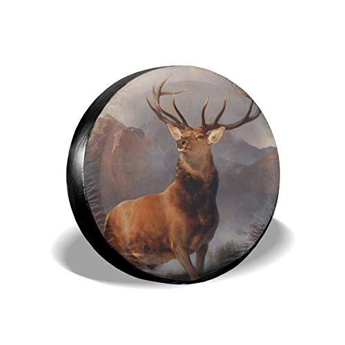 Y.Z.L. Funda para Neumáticos Cubierta para Rueda de Repuesto Protección Bolsa de Almacenamiento Ciervo de montaña 14/15/16/17inch