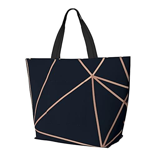Golden Lines Triangle On Dark Schultertasche Multifunktionale Große Kapazität Handtasche Tablet Taschen Leichte Arbeit Tote Bag Weekender Reisetasche Strandsack für Frauen