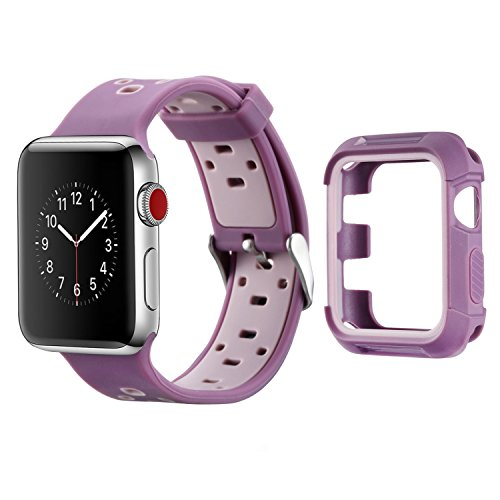 MAIRUI Compatible with Apple Watch Band Case 42mm Protector Bumper Cover Rugged with Silicone Strap Wristband for Apple Watch Series 3/2/1, iWatch Sport/Edition (Purple)
