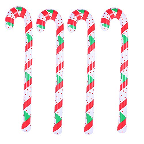 Snlaevx 4 Pack120cm Blow Up IInflatable Pieces Candy Cane Stick Inflatable Candy Balloon Christmas Candy Cane for Holiday Christmas Yard Lawn Garden Decorations Ornaments (120X8CM, muticolor 2)