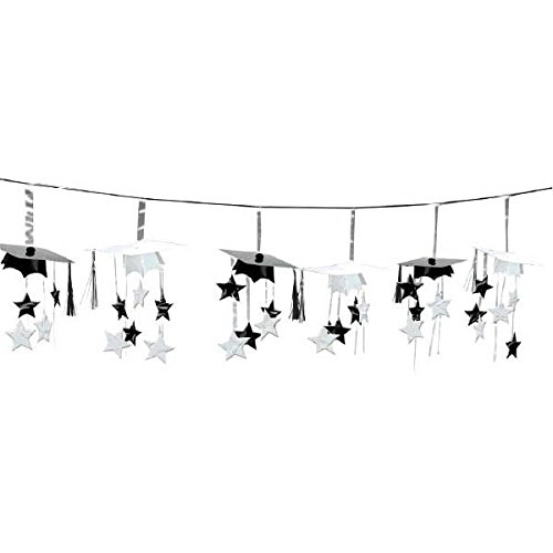 amscan Party Supplies, School Colors Graduation Party 3-D Mortarboard & Stars Foil Garland, Party Decorations, 12', Black and White