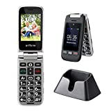 Big Button Mobile Phone Seniors Cell Phone, artfone Folding Cell Phone with Charging