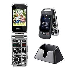 Senior mobiele telefoon, artfone grote sleutel opvouwbare telefoon met laadstation en zonder contract, Dual SIM gepensioneerde mobiele telefoon met 2,4 inch kleurendisplay, buitendisplay, noodknop, zaklamp, FM-radio, dual-AAC ontvanger *