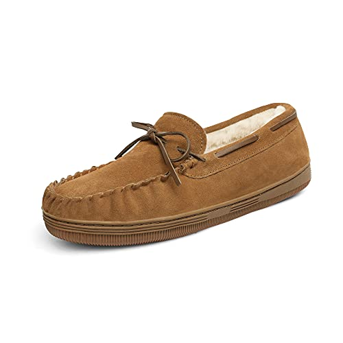 DREAM PAIRS Men's Fur-Loafer-01 Tan Suede Slippers Loafers Shoes Size 10.5 M US