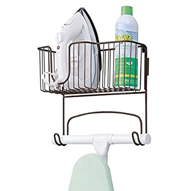 mDesign Wall Mount Ironing Board Holder with Large Storage Basket - Holds Iron, Board, Spray Bottles, Starch, Fabric Refresher for Laundry Rooms - Durable Steel, Bronze