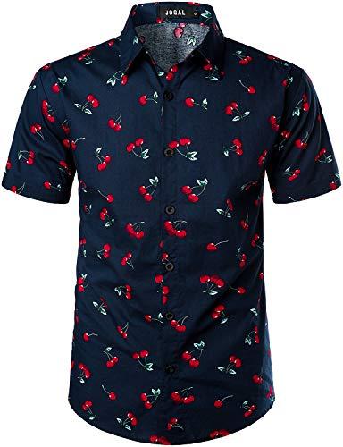 JOGAL Men's Cotton Button Down Short Sleeve Hawaiian Shirt Large NavyCherry