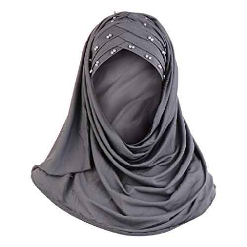 Lazzboy Frauen Perlen Indien Hut Muslim Rüschen Krebs Chemo Beanie Wrap Cap Schal Hijab Kopftuch Für Muslimische Kopfbedeckung Islam Solide Weiche Maxi(Grau)
