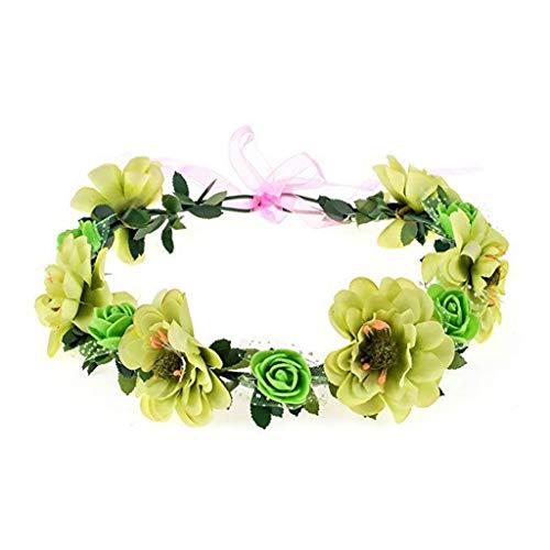 DROHOO Diadema de flores, rosa, flores hechas a mano, guirnalda floral, diadema,...