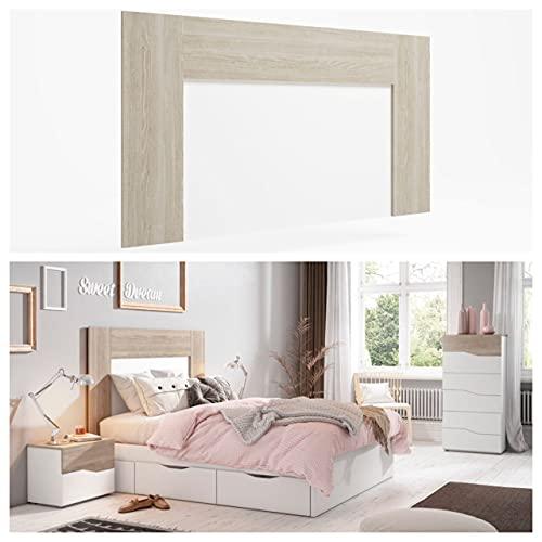 Cabecero Luce para Camas 135 o 150 cm Color Sable y Blanco habitación Dormitorio Matrimonio 90x163x3 cm