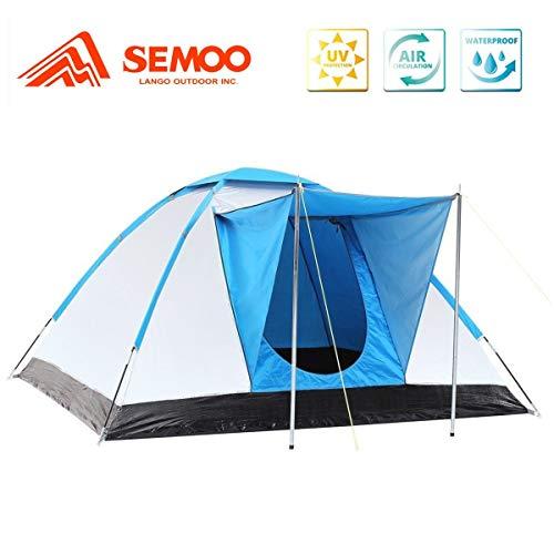 Semoo Familienzelt, UV-Schutz Iglu-Zelt, Silber beschichtete Faser, Camping Zelt für 3 Personen