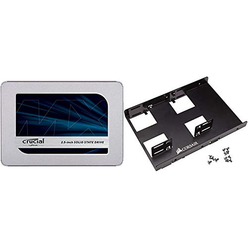 Crucial MX500 2TB 3D NAND SATA 2.5 Inch Internal SSD - CT2000MX500SSD1 Bundle with Corsair Dual SSD Mounting Bracket 3.5%22 CSSD-BRKT2,Black