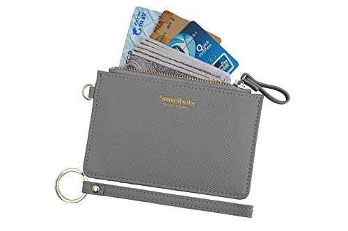 Women Slim RFID Card Case Holder Wristlet Zip ID Case Wallet Small Leather Wallet Coin Purse with Keychain (Gray)