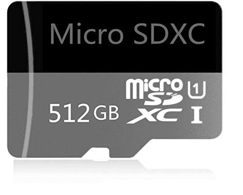 Tarjeta Micro SD de 512GB de Alta Velocidad diseñada para teléfonos Inteligentes Android, tabletas Tarjeta de Memoria SDXC de Clase 10 con Adaptador (512GB)